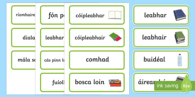 In My School Bag Word Cards Gaeilge