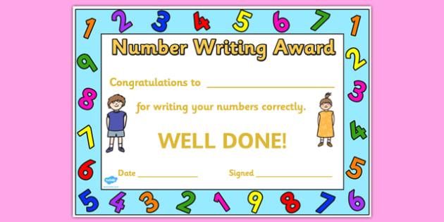 Number Writing Award Certificate - number, number writing, award certificate, award, certificate, reward certificate, award templates, behaviour management