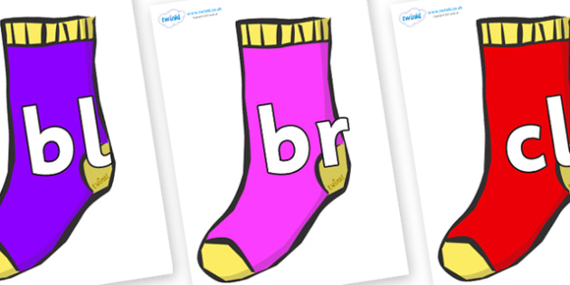 Initial Letter Blends on Socks - Initial Letters, initial letter, letter blend, letter blends, consonant, consonants, digraph, trigraph, literacy, alphabet, letters, foundation stage literacy