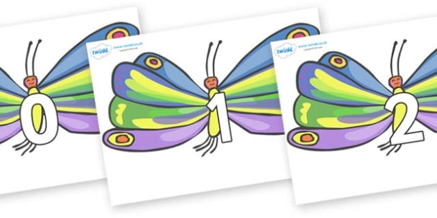 Numbers 0-50 on Butterflies to Support Teaching on The Very Hungry Caterpillar - 0-50, foundation stage numeracy, Number recognition, Number flashcards, counting, number frieze, Display numbers, number posters