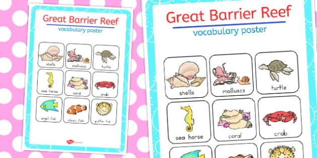 Great Barrier Reef Vocabulary Poster Mat - australia, barrier