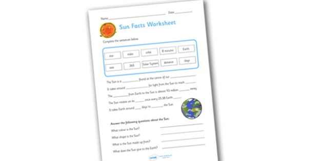 Sun Facts Worksheet - worksheets, worksheet, work sheet, sheets, sun, the sun, the sun facts worksheet, facts about the sun, sun facts, activity, writing frame, filling in, writing activity