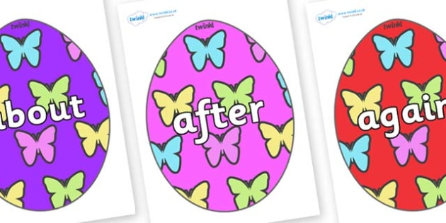 KS1 Keywords on Easter Eggs (Butterflies) - KS1, CLL, Communication language and literacy, Display, Key words, high frequency words, foundation stage literacy, DfES Letters and Sounds, Letters and Sounds, spelling