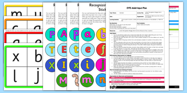 Letter Recognition Wriggly Worm Activity EYFS Adult Input Plan and Resource Pack - EYFS planning, early years activities, letters and sounds, phase 2, phonics