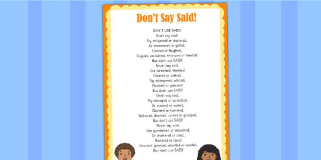 Don't Say Said Poem - poems, poetry, ks2 poetry, literacy, ks2