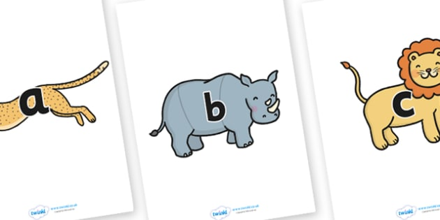 A-Z Alphabet on Safari Animals - Sarafi, Safari Animal, Alphabet frieze, Display letters, Letter posters, A-Z letters, Alphabet flashcards, lion, cheetah, puma, jaguar, rhino, hippo, elephant