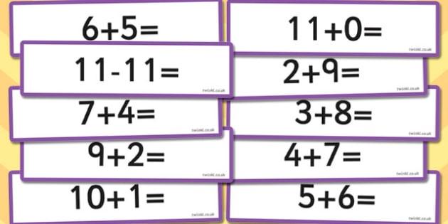 Number Bonds to 11 Sentence Cards - number, bonds, sentence