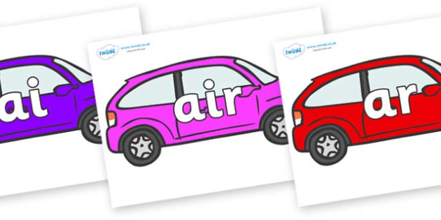 Phase 3 Phonemes on Cars - Phonemes, phoneme, Phase 3, Phase three, Foundation, Literacy, Letters and Sounds, DfES, display