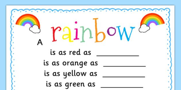 Rainbow Simile Poem Writing Template - rainbow, simile, poem, template