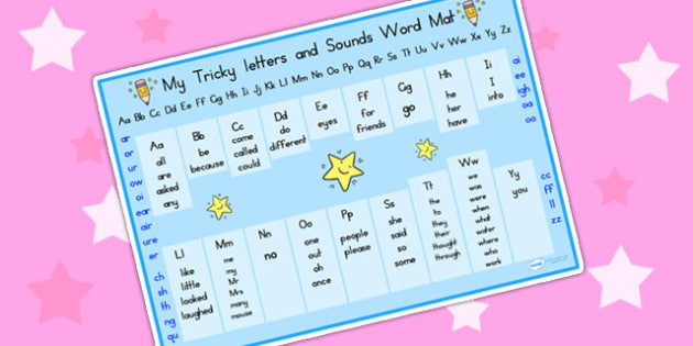 Tricky Letters and Sounds Word Mat - tricky letters, sound, words