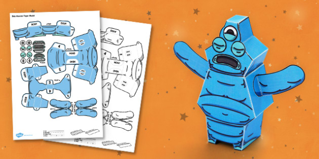 Blob Monster 3D Halloween Paper Model - paper,folding,fold,up,toy,toys,activity,class,colour,color,in,build,display.print,out,cut,printable,fun,model,stand,cube,role,play,playing,prop,props,drama,display,halloween,monster