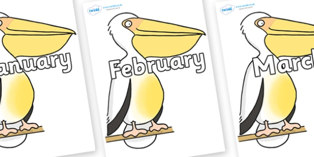 Months of the Year on Pelican to Support Teaching on The Great Pet Sale - Months of the Year, Months poster, Months display, display, poster, frieze, Months, month, January, February, March, April, May, June, July, August, September