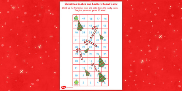 Snakes and Ladders Christmas Board Game 1 to 50 - christmas
