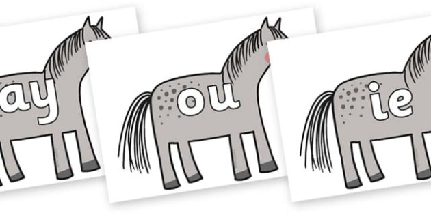 Phase 5 Phonemes on Horse to Support Teaching on What the Ladybird Heard - Phonemes, phoneme, Phase 5, Phase five, Foundation, Literacy, Letters and Sounds, DfES, display