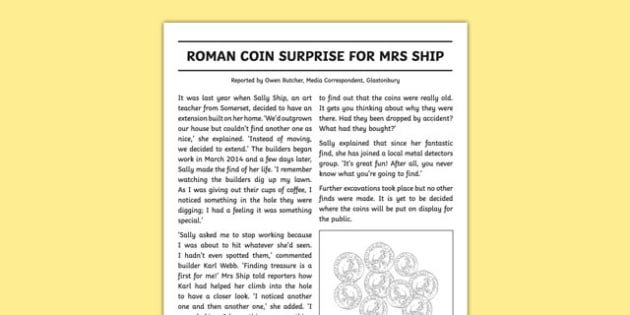Roman Coin Surprise Newspaper Report Writing Sample