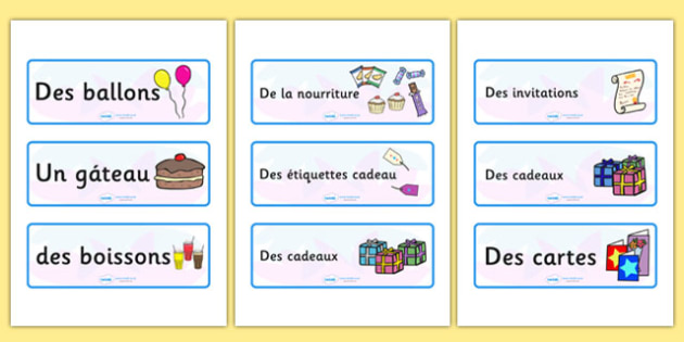 Birthday Topic Word Cards French - french, france, francais, birthday, topic, word cards