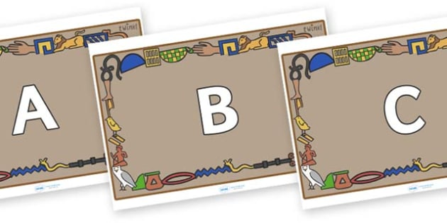 A-Z Alphabet on Egyptian Bricks - A-Z, A4, display, Alphabet frieze, Display letters, Letter posters, A-Z letters, Alphabet flashcards