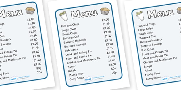 Fish And Chip Shop Role Play Menu - Fish and Chip, shop, poster, sign, prices, price list, offers, fast food, chip butty, food, eating, English, haddock, cod, mushy peas