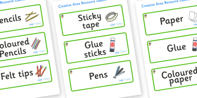 Acorn Themed Editable Creative Area Resource Labels - Themed creative resource labels, Label template, Resource Label, Name Labels, Editable Labels, Drawer Labels, KS1 Labels, Foundation Labels, Foundation Stage Labels