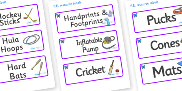 Butterfly Themed Editable PE Resource Labels - Themed PE label, PE equipment, PE, physical education, PE cupboard, PE, physical development, quoits, cones, bats, balls, Resource Label, Editable Labels, KS1 Labels, Foundation Labels, Foundation Stage