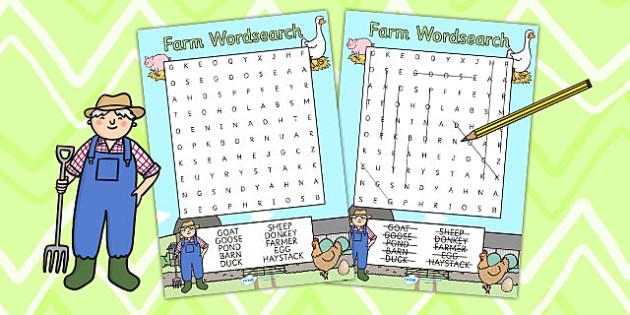Farm Themed Differentiated Wordsearch - farm, farm game, games