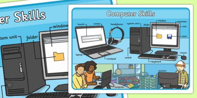computer skills large display poster computer skills