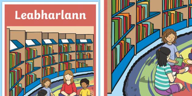 Leabharlann Library Display Poster- Irish, library, display