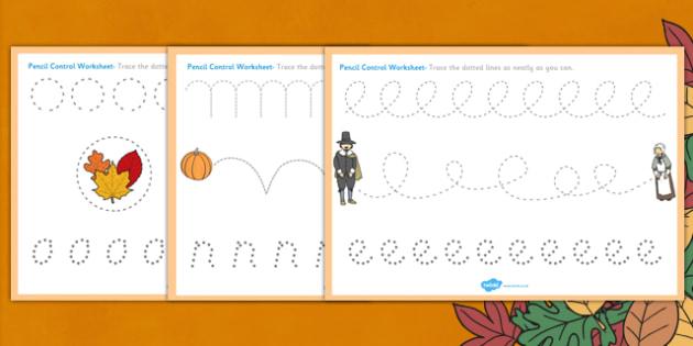 Thanksgiving Pencil Control Worksheets - worksheet, pencils
