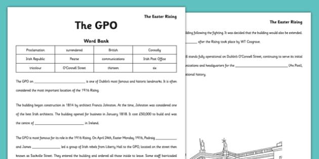1916 Rising The GPO Cloze Activity - gaeilge, irish, 1916 rising, gpo, cloze activity