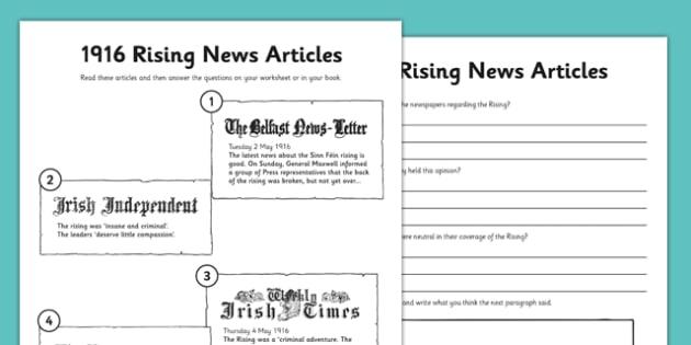 1916 rising news articles worksheet easter 1916 rising irish. Black Bedroom Furniture Sets. Home Design Ideas
