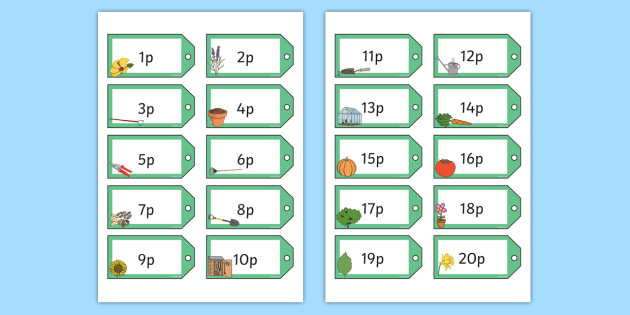 Garden Centre Themed 1 20p on Price Tags - garden, centre, plants, flowers, grow, growing, growth, shop, play, money, acting, role, play, roleplay, drama, eyfs, early years, ks1, year 1, y1
