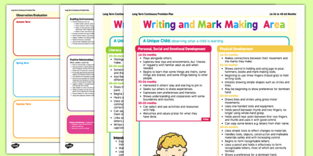 Writing and Mark Making Area Continuous Provision Plan Posters 16-26 to 40-60 Months - writing, mark making, area, continuous provision plan, posters, 16-26, 40-60