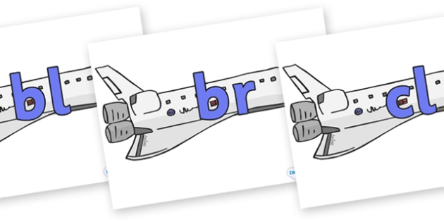Initial Letter Blends on Space Shuttles - Initial Letters, initial letter, letter blend, letter blends, consonant, consonants, digraph, trigraph, literacy, alphabet, letters, foundation stage literacy
