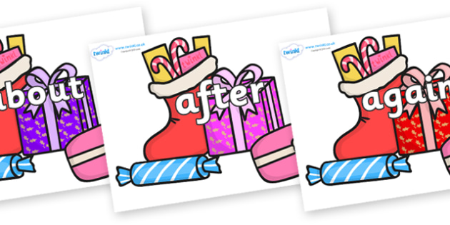 KS1 Keywords on Christmas Gifts - KS1, CLL, Communication language and literacy, Display, Key words, high frequency words, foundation stage literacy, DfES Letters and Sounds, Letters and Sounds, spelling