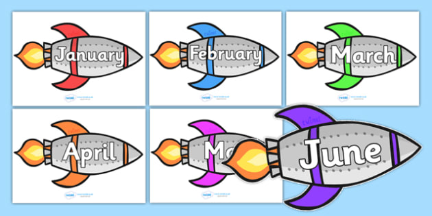 Months of the Year on Rockets - Months poster, Months display, Rockets poster, Months of the year, space, topic, days, months