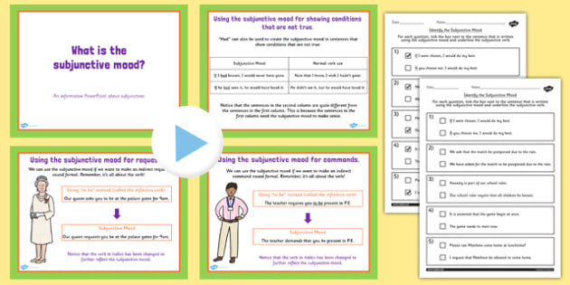 Identifying the Subjunctive Mood Lesson Teaching Pack - pack