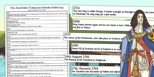 The Jacobites Timeline Ordering Events Worksheet - jacobites