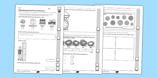 Year 2 Maths Assessment Measurement Term 3 - year 2, maths, assessment, measurement, term 3