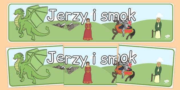 Banner na gazetkę Święty Jerzy i smok po polsku - patron
