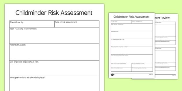 EYFS Childminder Risk Assessment Editable Pro Forma