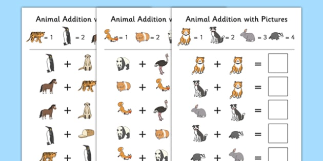 Animal Themed Addition with Pictures Activity Sheet Pack - themed, addition, pictures, activity, sheets, animal, worksheet