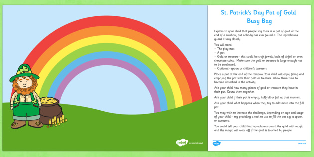St Patrick's Day Pot of Gold Busy Bag and Resource Pack for Parents - St Patrick's Day, gold, rainbow, parents