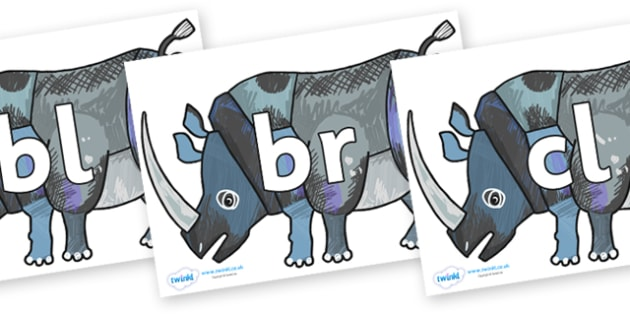 Initial Letter Blends on Rhinoceros to Support Teaching on The Bad Tempered Ladybird - Initial Letters, initial letter, letter blend, letter blends, consonant, consonants, digraph, trigraph, literacy, alphabet, letters, foundation stage literacy