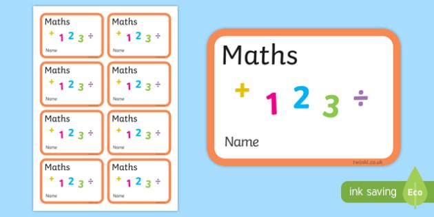 Maths Book Labels