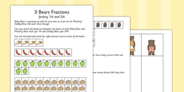 Three Bears Fractions Activity Sheet - three bears, fractions, activity, worksheet