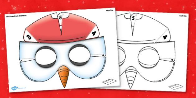 3D Christmas Snowman Mask Printable - 3d, christmas, snowman, mask, printable