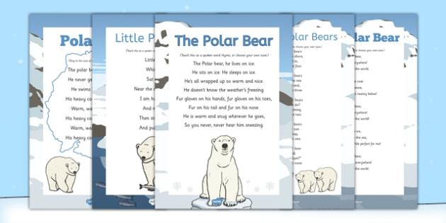 Polar Bears Songs and Rhymes Pack - Antarctic, Polar, Polar Bear, pack, rhymes, songs, activities