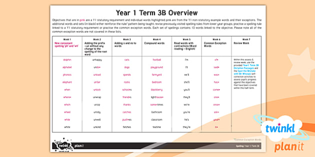 PlanIt Y1 Spelling Term 3B Overview
