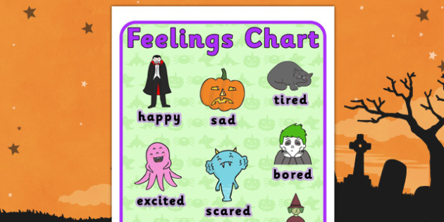 Halloween Themed Feelings Chart - Halloween, Feelings, Feeling, Chart