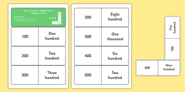 Number Bonds to 1000 Dominoes Multiples of 100 - maths, loop cards, number facts, facts to 1000, thousand, addition, number pairs, multiples of 100